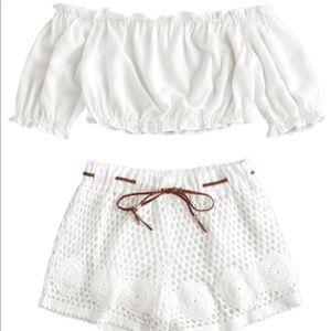 off the shoulder and crochet shorts set